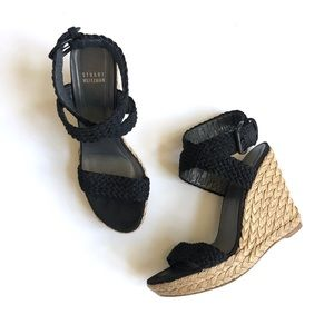 Stuart Weitzman Alex wedge sandals in black